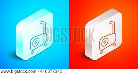 Isometric Line Stationary Bicycle Icon Isolated On Blue And Red Background. Exercise Bike. Silver Sq