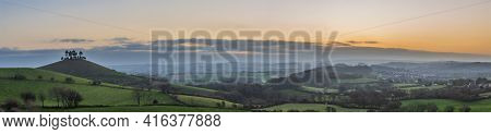 Stunning beautiful sunrise landscape image of Colmer\\\\\\\'s Hill in Dorset on a Spring morning