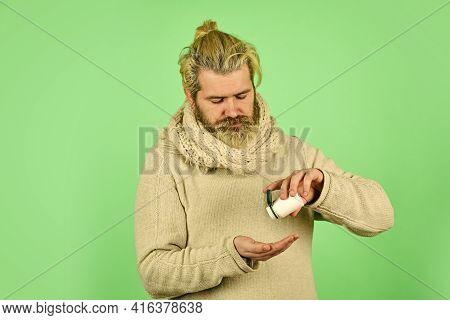 Cold Remedies. Sick Male Take Anti Cold Pill. Vitamin Complex For Immunity. Ill Man Treat Symptoms C