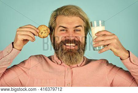 Bearded Man Drink Milk With Cookies. Leave It For Santa. Breakfast Or Lunch. Milk And Sweet Cookies.