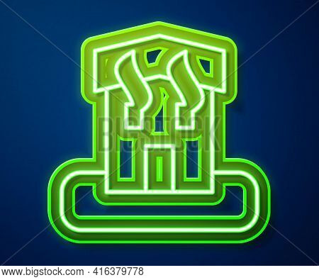 Glowing Neon Line Arson Home Icon Isolated On Blue Background. Fire In Building. Flames From Office