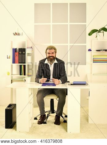 Man Sit Office. Business Director. Bearded Hipster Creative Director. Advocacy And Jurisprudence. Le
