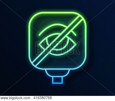 Glowing Neon Line Blindness Icon Isolated On Blue Background. Blind Sign. Vector