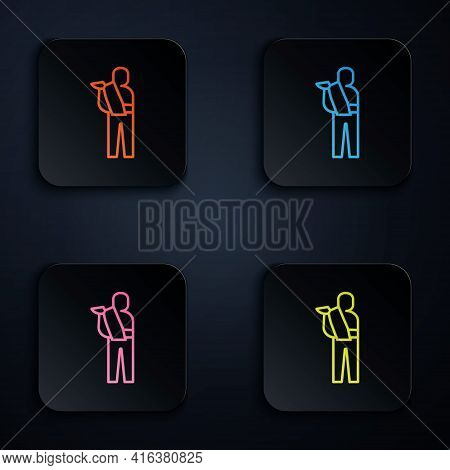 Color Neon Line Human Broken Arm Icon Isolated On Black Background. Injured Man In Bandage. Set Icon
