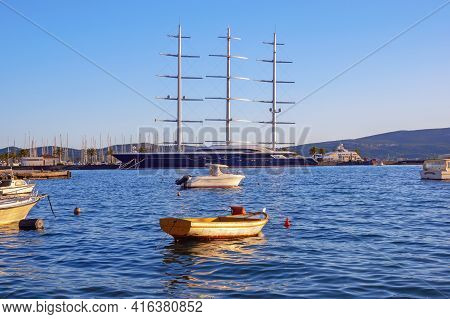 Tivat City,  Montenegro - April 08 2021:  View Of  Marina Porto Montenegro In Tivat City And Sailing