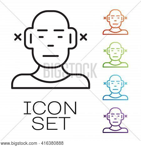 Black Line Deafness Icon Isolated On White Background. Deaf Symbol. Hearing Impairment. Set Icons Co