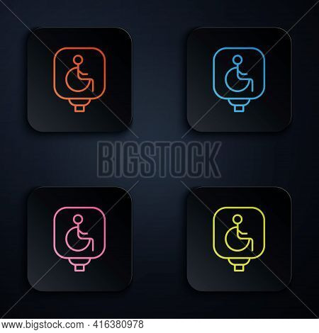 Color Neon Line Disabled Wheelchair Icon Isolated On Black Background. Disabled Handicap Sign. Set I