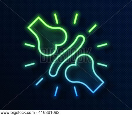 Glowing Neon Line Joint Pain, Knee Pain Icon Isolated On Blue Background. Orthopedic Medical. Diseas