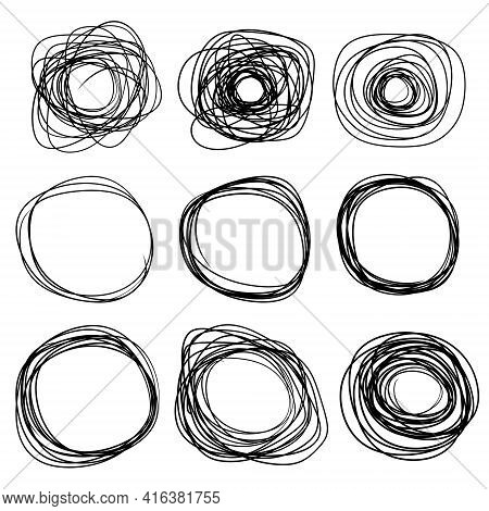Sketch Circle. Black Ring Set. Abstract Geometric Shape. Chaotic Doodle Tangled Line.
