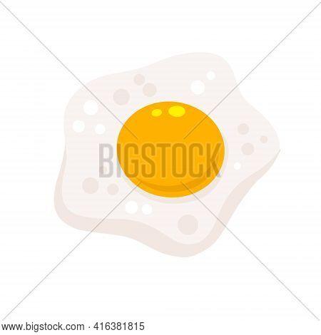 Scrambled Egg. Healthy Breakfast. Flat Cartoon Isolated On White Background. Protein And Yolk. Eleme