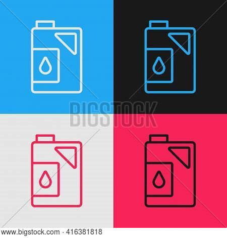 Pop Art Line Canister For Motor Machine Oil Icon Isolated On Color Background. Oil Gallon. Oil Chang