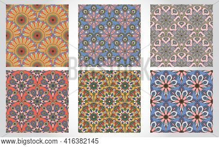 Set Of Abstract Mandala Fish Scale Seamless Patterns. Ornamental Tile, Mosaic Backgrounds. Floral Pa