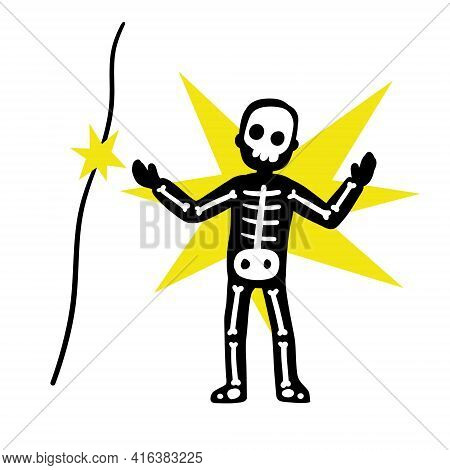Electric Shock. Skeleton Touch Electric Wire With Current. Danger And High Voltage Incident. Caution