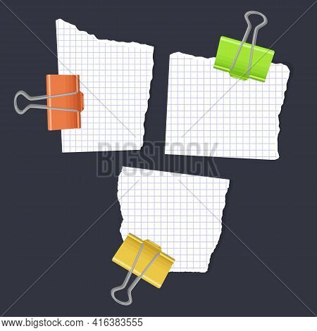 Ripped Note Of White Color, Notebook Grainy Paper Strips Stuck On Grey Background. Vector Illustrati