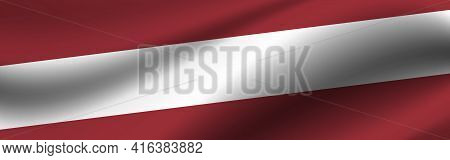 Banner With The Flag Of Latvia Fabric Texture Of The Flag Of Latvia.