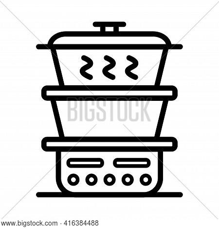Steamer Outline Icon. Vector Sign Isolated On White Background.
