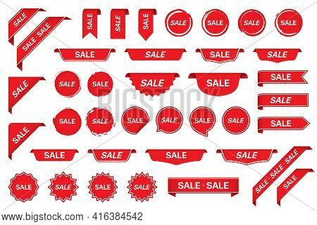 Sale Tag Sticker Labels Collection In Red