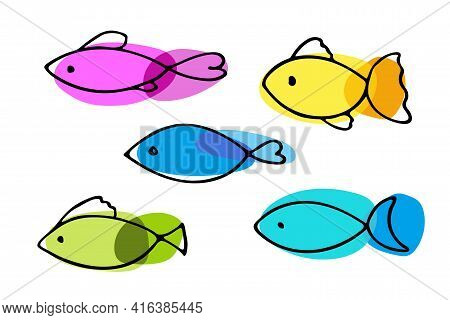Absrtact Fish Icon Set. Sketch Of Fish Vector Icons Isolated On White Background. Set Of Varieties C
