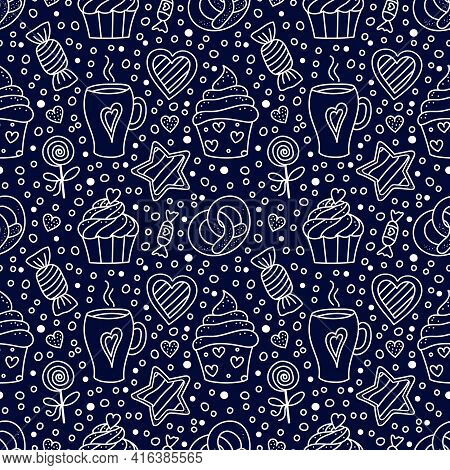 Holiday Pastry, Dessert Doodle Vector Seamless Pattern. Sweet Food And Cup Of Coffee. Cupcakes, Cand