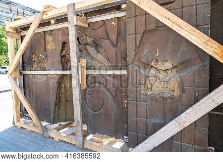 Samara, Russia - May 13, 2017: Sculptural Composition Of Russian Singer, Songwriter, Poet And Actor