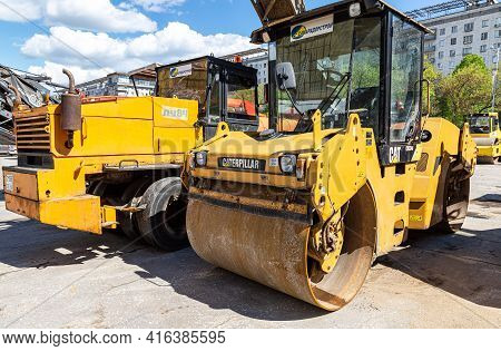 Samara, Russia - May 13, 2017: Road Rollers Working On The Construction Of New Road In Summer Sunny