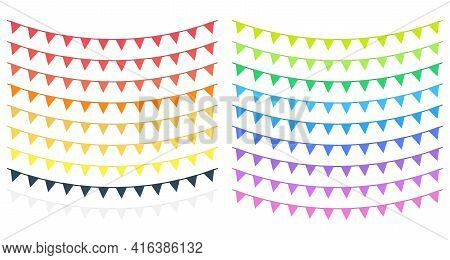 Set Of Bunting Triangle Flags With Ribbon. Decorative Colorful Party Pennants For Birthday, Event, C