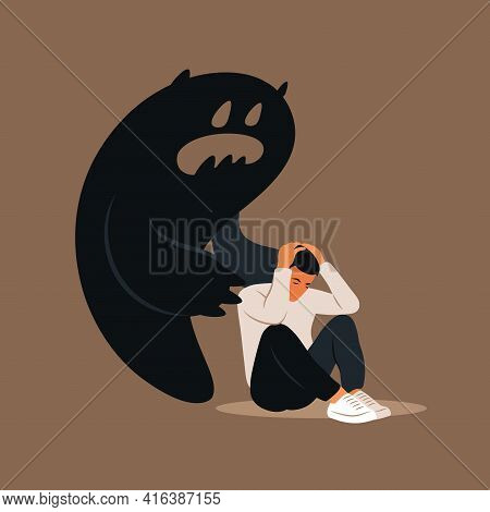 Fear Or Panic Attack. Sad Man With Lowered Head Frightened With His Own Shadow. Depressed, Solitude,