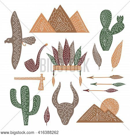 Set Of Wild West Elemets, Isolated Vector Feathers, Pipe, Eagle, Cactuses, Mountains, Bull, Arrows.