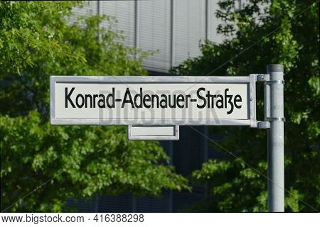 Berlin, Germany, June 6, 2020, Street Sign Of Konrad-adenauer-strasse In The Government District, Na