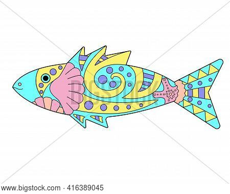 Small Fish - Vector Linear Color Illustration. Small Fish - Multicolored Stained Glass Or Batik. Pic