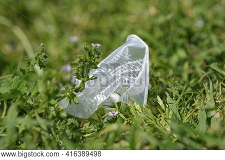 Disposable Plastic Cup Discarded On Meadow Ground, Envinronment Waste Pollution