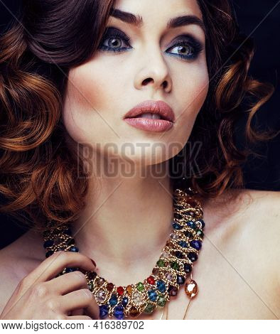 Beauty Rich Woman With Bright Makeup Wearing Luxury Jewellery On Black Background, Fashion Lady Curl