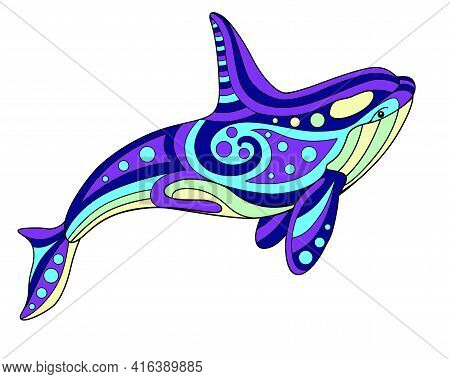 Killer Whale - Vector Linear Color Illustration. Orca - Multicolored Stained Glass Or Batik. Picture