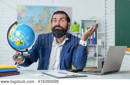 Where To Go. Happy Teachers Day. Brutal Man With Beard Wear Costume. Informal Education. Male Studen