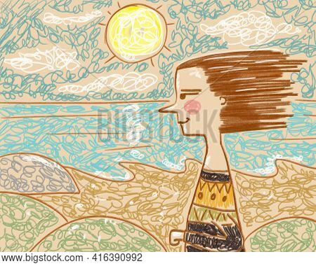 Simple Primitive Drawing Of A Woman By The Sea Ocean. Illustration Hand-drawn Primitive
