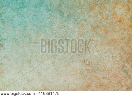 Beige Green Turquoise Antique Old Background With Blur, Gradient And Watercolor Texture. Space For A