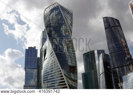 Moscow Russia - April 09 2021: High-rise Buildings Of The Moscow City Complex.