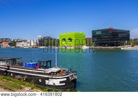 Lyon, France - August 22, 2019: Confluence District In Lyon, Headquarters Of The Euronews Television