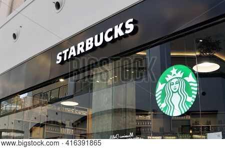 Moscow Russia - April 09 2021:signboard Of Starbucks Cafe In The Mall.