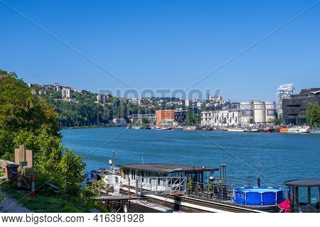 Lyon, France - August 22, 2019: The Confluence District In Lyon, City View From Saone Riverbank