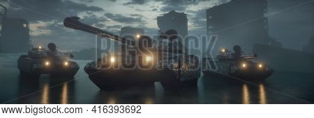 Military Silhouettes Three Tanks On War Fog Sky Background. Tanks Battle. War Concept. 3d Rendering.