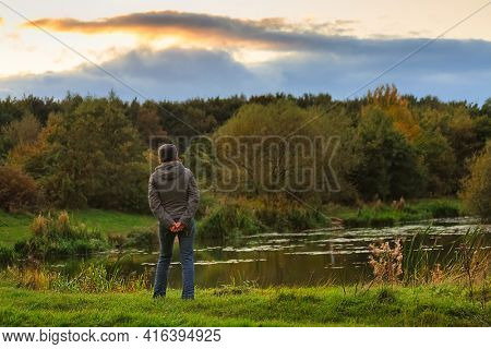 Autumn landscape by the lake