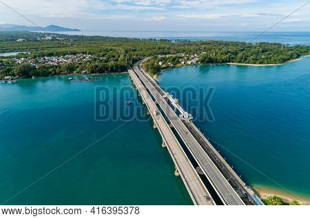 Aerial View Of Sarasin Bridge Road Transportation Background Concept The Bridge Is A Between Phang N