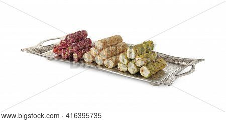 Turkish Delight Dessert In Tray Isolated On White