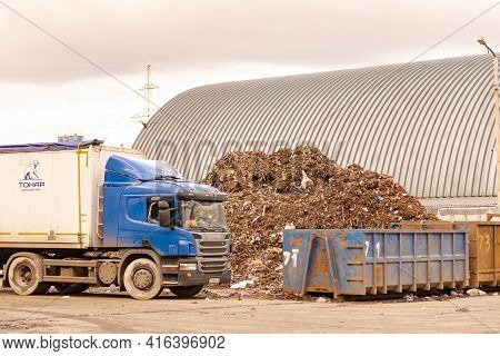 Moscow Region. Russia. Autumn 2020. Garbage Truck At The Sorting Station. Using A Truck To Transport