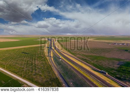 Aerial View Highway Interstate In The Desert Near San Jon New Mexico Usa