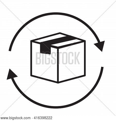 Return Box Icon On White Background. Flat Style. Exchange Of Goods Sign. Package Tracking Symbol. Re