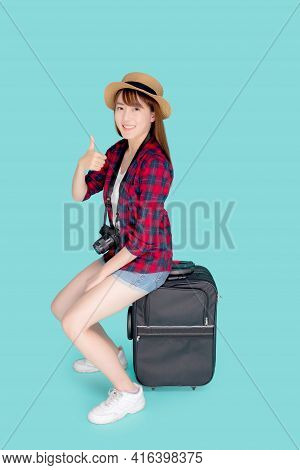 Beautiful Portrait Young Asian Woman Sitting On Luggage Smile And Travel Summer Trip For Abroad In V