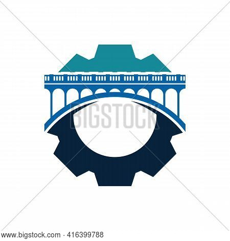 Bridge With Gear Logo Design Vector Illustration, Creative Bridge Logo Design Concept Template, Symb