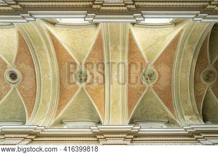 Krakow Poland August 2020. Ceiling In Skalka Church And The Pauline Monastery, Krakow, Lesser Poland
